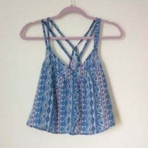 Hollister Blue Aztec Print Strappy Tank Top